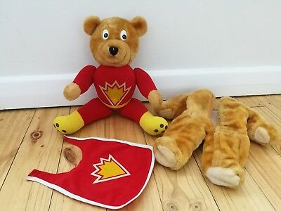 Vintage retro 1984 Super Ted with removable bear skin petalcraft