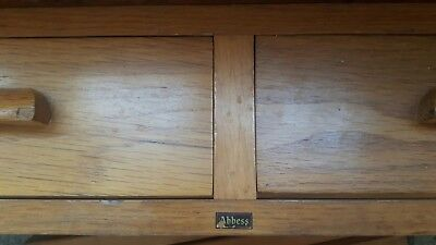 Antique Vintage Abbess Oak Desk School Teacher Desk 2 Drawers