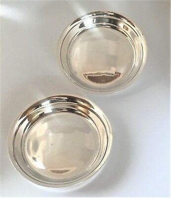 Pair Antique Scottish Sterling Silver Coasters/Pin Dishes-Brook&Son-1913-138g's