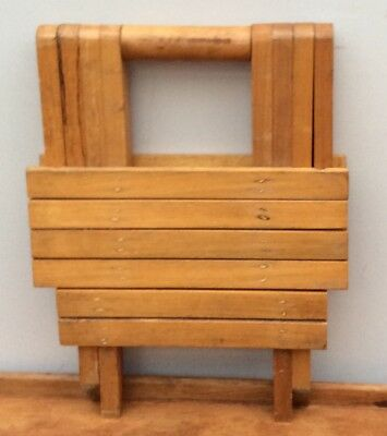Vintage Wooden Wood Foldable Collapsible Stool Carry Seat