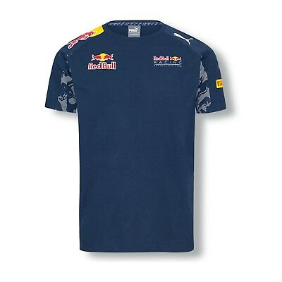 T-SHIRT Tee Red Bull Racing Team Formula One 1 F1 Puma Sponsor NEW! Navy Medium