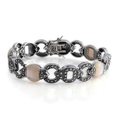 Round Marcasite, Mother of Pearl Fashion Bracelet for Women 7.25'' Cttw 0.3