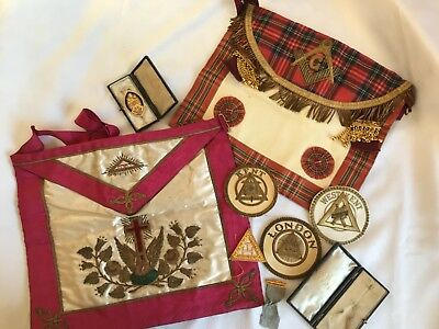 VINTAGE MASONIC REGALIA, aprons, medals and badges