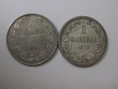 Two coins Finland 2 Markkaa 1874 and 1870 Silver Coins priced to sell