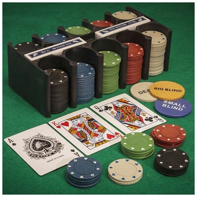 200 Pc Poker Chips Set with 2 Decks Playing Card and Mat Texas Hold'em Metal Box