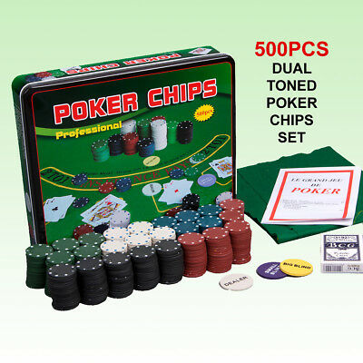 500 Pc Dual Toned Poker Chips Set with 2 Decks Playing Card & Play Mat Metal Box