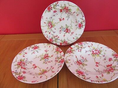 Lovely bone china Queens Cath Kidston  Summer Blossom Rimmed soup Bowls  x 3
