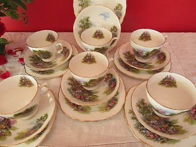 Lovely Vintage  bone china Royal Vale Cottage Garden Tea set   18 pieces