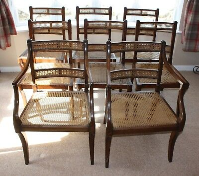 8 bergere dining chairs includes 2 carvers 1930s