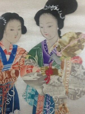 Rare Chinese/Japanese Montage Art Made OF Postage Stamps From Hungry
