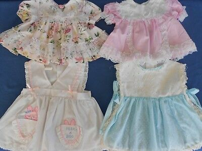 Lot 4 Vintage Baby Dresses, Lace Ruffles Dots, 6-12 mo. for baby or Lg. Doll