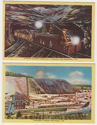 LOT of 2 Vintage Anthracite Coal Mining Pennsylvania POSTCARDS Locomotive Cars