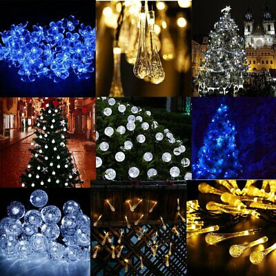 20/30/50 LED Solar Powered Garden Party Fairy String Crystal Ball Lights Outdoor