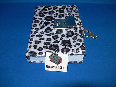 New White With Black Animal Print Diary With A Built In Lock And 1 Key