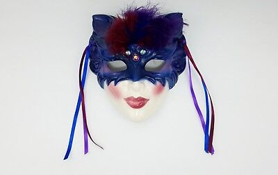 Rare Vintage 1990 Clay Art Feline Jeweled Ceramic Cat Mask Purple Beautiful