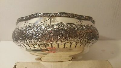 Antique Large Ornate Bowl Gorham Sterling Silver #3325 Raised Flowers Beautiful