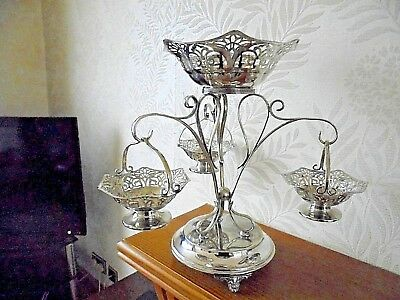 Antique Silver Plated Epergne with Baskets Circa 1910