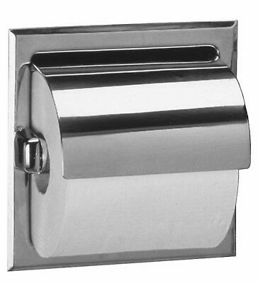 Bobrick 6697 Stainless Steel Recessed Toilet Tissue Dispenser with Hood and M...