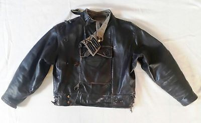 Swedish Vintage Courier Motorcycle Military Jacket  -   Leather Army