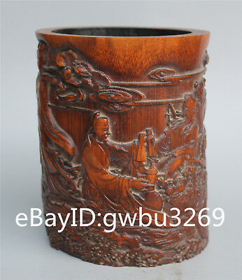 Chinese Bamboo Pen holder Carved Hand Carved the Eight Immortals Brush Pot