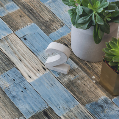 Blue Distressed Painted Wood Effect Cushioned Sheet Vinyl Flooring Lino Roll
