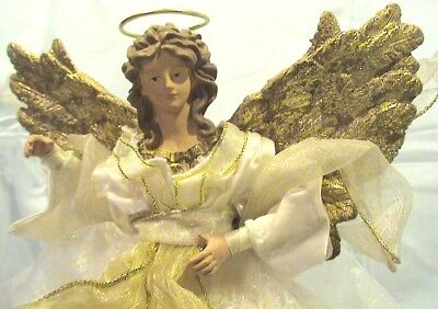 Vintage Holiday Christmas Tree Topper TableTop Golden Winged Angel w/Golden Halo