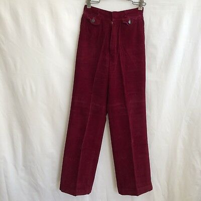 Rose Best Quality Womens 9/10 Vintage 70s Burgundy Corduroy Pants