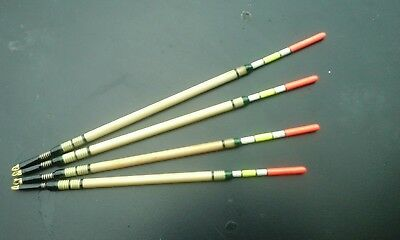 Set Of 4 Traditional Hand Made Insert Reed Waggler Fishing Floats