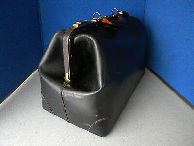 """Antique Early 1900's Black Cowhide Leather 18"""" XL Doctor's Medical Bag"""
