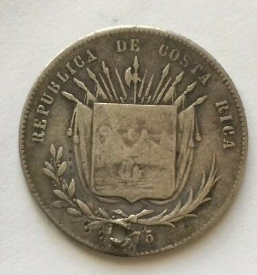 1875 Costa Rica 50 Centavos America Central KM-11 Silver Coin - Holed