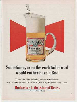 Vtg Budweiser advertisement 1969 Full page print magazine ad