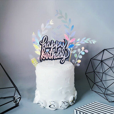 "3pcs Laser Leaf ""Happy Birthday"" Collection Cake Topper for Dessert Decor  ZP"