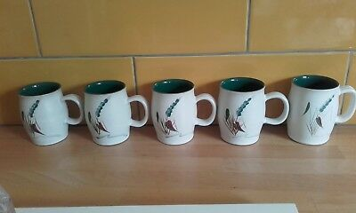 Five Greenwheat Denby mugs. Great condition.