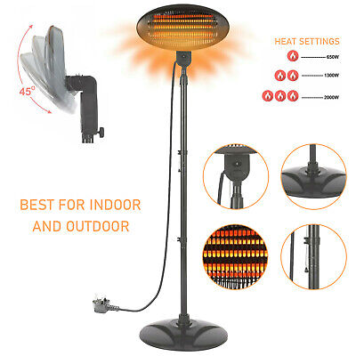 2000 Watt Free Standing Infrared Electric Heater Height Adjustable Garden Patio