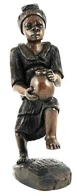 African Makonde Woman with Pitcher Hand Carved Ebony Wood Figure Statue New 1