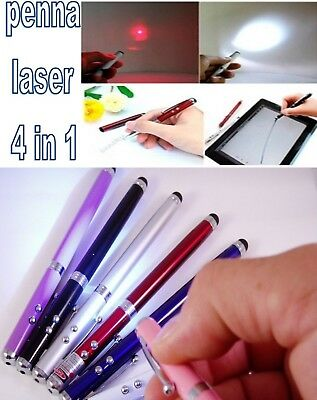 Penna Touch  Laser 4 In 1  Torcia Multifunzione