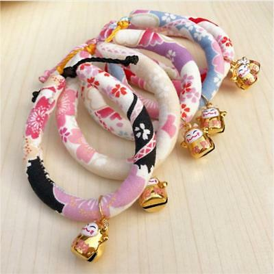 Pet Collar Adjustable Flower Print with Bell Necklace for Dog Cat Pet Puppy Q