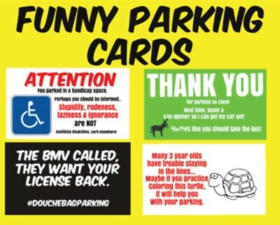 Funny Bad Parking Cards ~Gag~ Prank ~ Leave On Windshield ~ Set Of 20~4 designs