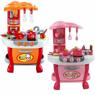 deAO Toddler Kitchen Toys Set with Lights and Sounds Includes 20 Accessories
