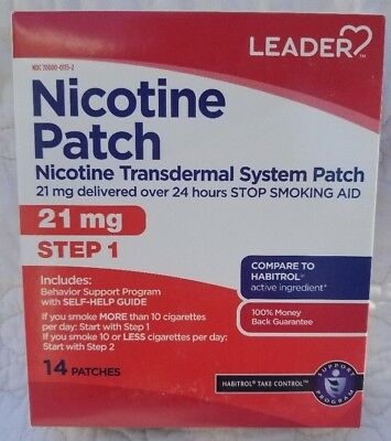 Leader Nicotine Patch Step 1 21mg 14 Patches (FREE SHIPPING)