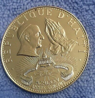 960 MINTED ONLY ULTRA RARE 1974 Haiti 50 Gourdes POPE PAUL in ST PETER SQUARE
