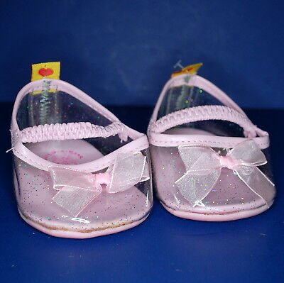 Build A Bear Shoes Pair Pink Clear Glitter Slippers Princess Heels Bows Dress