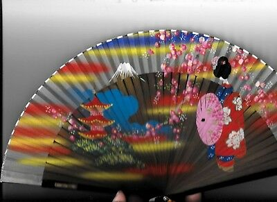 BEAUTIFUL HAND PAINTED JAPANESE FAN WITH TASSEL IN ORIGINAL BOX, 1950's