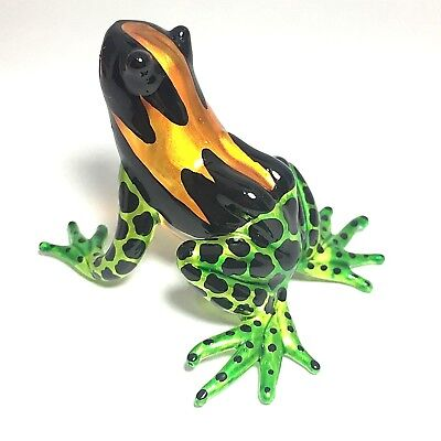Miniature Blown Glass Frog Collectible Art Animals Figurine Amphibians Decor MOG