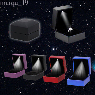 LED Light Jewelry Display Necklace Earring Wedding Ring Box Case Holder Gift Lot