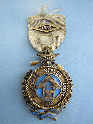 RARE Victorian PAST MASTERS Masonic Jewel 1884  VICTORIA RIFLES LODGE No. 822