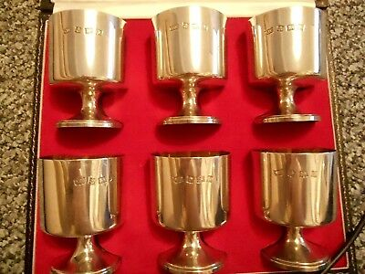Set Of 6 X Solid Fully Hallmarked Solid Silver & Gold Gilded Goblets (520 Grams)