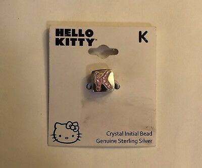 New Hello Kitty Sterling Silver Charm Bead Pink Crystal-Initial K-reversible