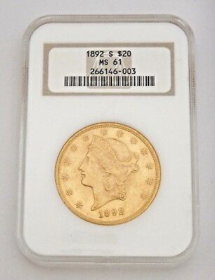 $20 Gold Coin, Graded MS 61, 1892 S Liberty Head (41547)