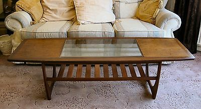VINTAGE G-PLAN LARGE RECTANGULAR TEAK COFFEE TABLE GLASS CENTRE 5ft x 21¼""